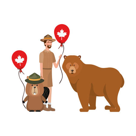 Beaver and bear animal and ranger design, forest canada life nature and fauna theme Vector illustration