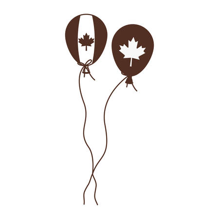 Maple leaf balloon and canada design, Culture national country travel and tourism theme Vector illustration  イラスト・ベクター素材