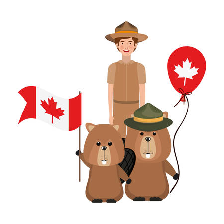 Beaver animal and ranger design, forest canada life nature and fauna theme Vector illustration  イラスト・ベクター素材