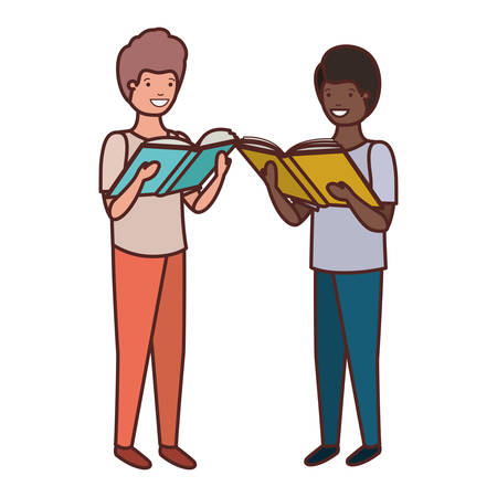 student boys with reading book in the hands vector illustration design