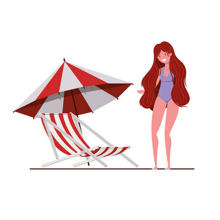 young woman with swimsuit on white background vector illustration design Illustration