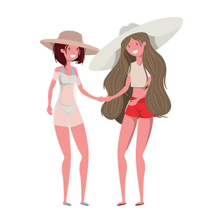 young women with swimsuit on white background vector illustration design Illustration