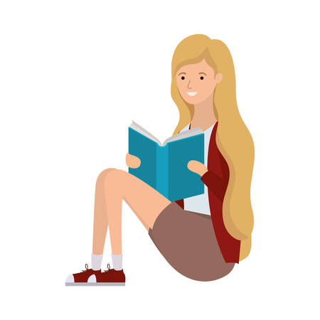 woman sitting with book in hands vector illustration design