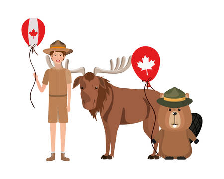 Beaver and moose animal design, forest canada life nature and fauna theme Vector illustration