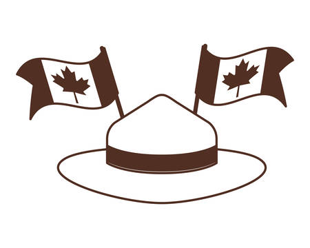 Maple leaf hat and canada design, Culture national country travel and tourism theme Vector illustration Foto de archivo - 124977759