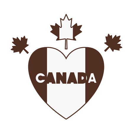 Maple leaf heart and canada design, Culture national country travel and tourism theme Vector illustration Foto de archivo - 124977956