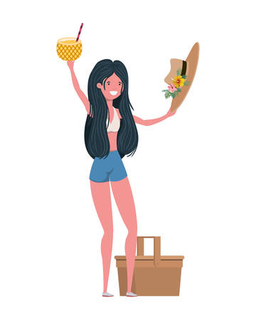 woman with swimsuit and Pineapple Cocktail vector illustration design Illustration