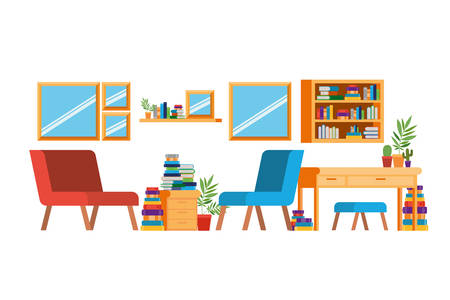 living room with sofa and desk with books vector illustration design