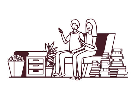 couple sitting in the work office avatar character vector illustration design