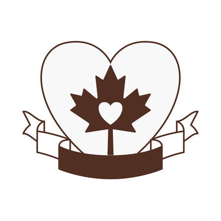 Maple leaf ribbon heart and canada design, Culture national country travel and tourism theme Vector illustration