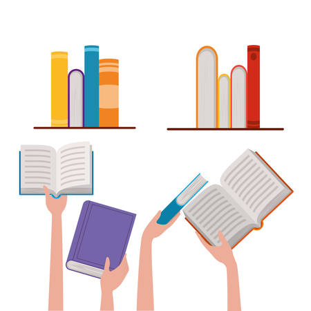 Books and hands design, Education literature read library school university and learning theme Vector illustration Ilustração