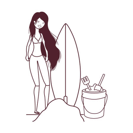 woman with swimsuit on the beach and surfboard vector illustration design