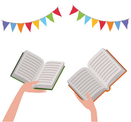Books hands and banner pennant design, Education literature read library school university and learning theme Vector illustration