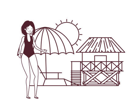 woman with swimsuit on the beach and wooden house vector illustration design