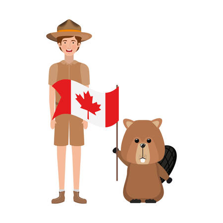 Beaver animal and ranger design, forest canada life nature and fauna theme Vector illustration Illustration