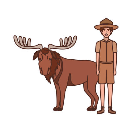Forest ranger cartoon design, life protector nature fauna and green theme Vector illustration 向量圖像