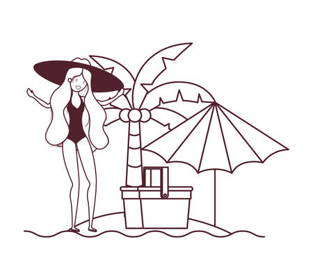 woman with swimsuit on the beach and umbrella vector illustration design