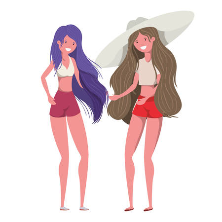 young women with swimsuit on white background vector illustration design Ilustração