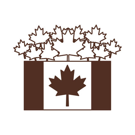Maple leaf flag and canada design, Culture national country travel and tourism theme Vector illustration