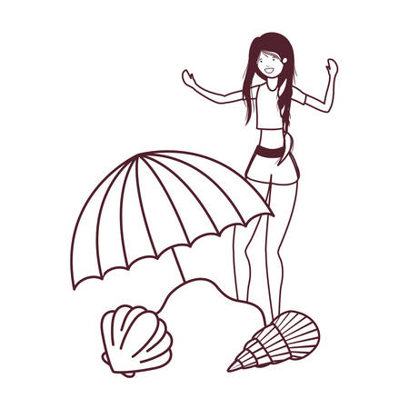 woman with swimsuit on the beach and umbrella vector illustration design Banco de Imagens - 124995113