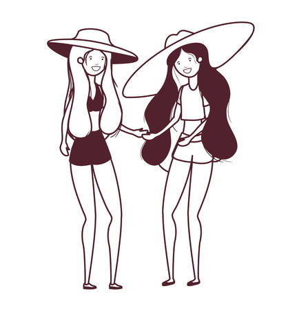 silhouette of women with swimsuit on white background vector illustration design