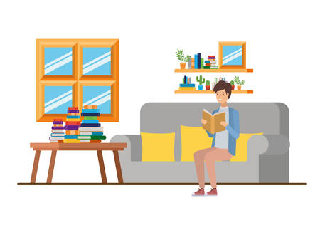 man with book in hands in living room vector illustration design Stock Illustratie