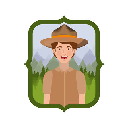 Forest ranger boy cartoon design, life protector nature fauna and green theme Vector illustration  イラスト・ベクター素材