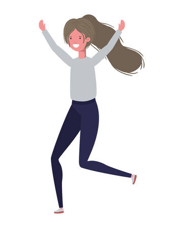 dancing woman in white background vector illustration design