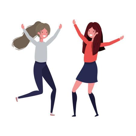 dancing women in white background vector illustration design Illustration