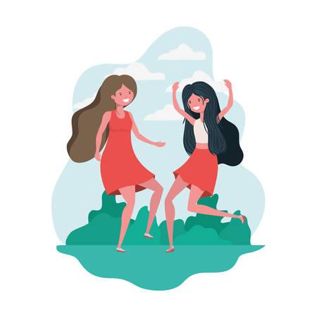 dancing women in landscape of background vector illustration design Illustration