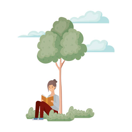 woman sitting with book in landscape with trees and plants vector illustration design
