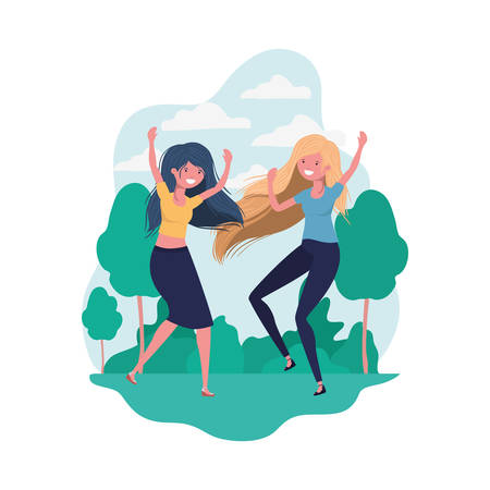 dancing women in landscape of background vector illustration design Illustration