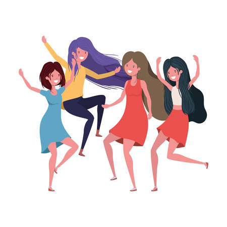 dancing women in white background vector illustration design Illustration
