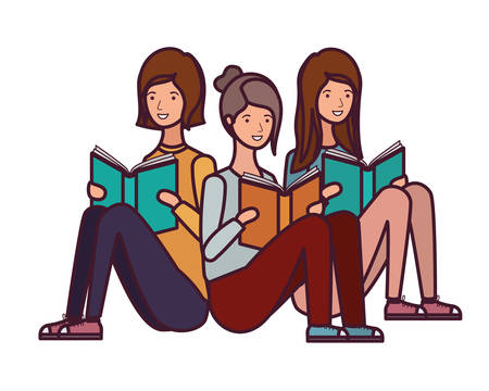 women sitting with book in hands vector illustration design