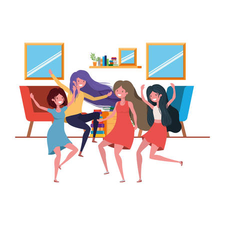 dancing women in living room avatar character vector illustration design