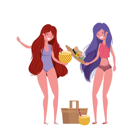 women with swimsuit and pineapple cocktail vector illustration design Illustration