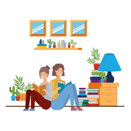 couple with book in hands in living room vector illustration design