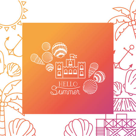 hello summer label with colorful frame vector illustration design Çizim