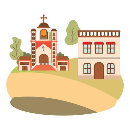 neighborhood houses in landscape isolated icon vector illustration design Ilustrace