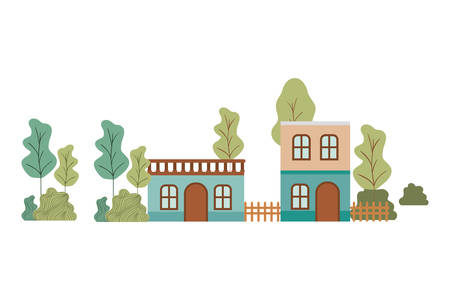 neighborhood houses in landscape isolated icon vector illustration design 일러스트