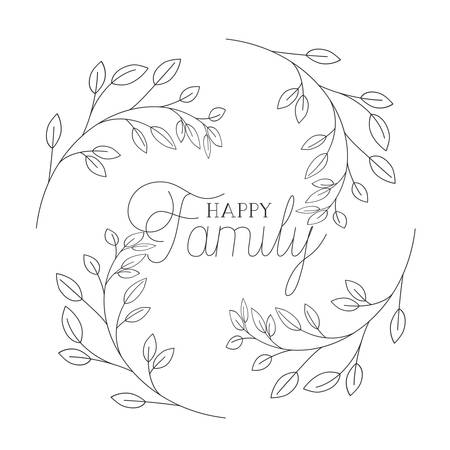 happy family day label isolated icon vector illustration design