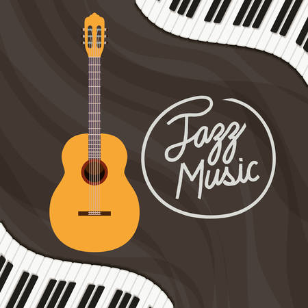 jazz day poster with piano keyboard and acoustic guitar vector illustration design Stock Illustratie