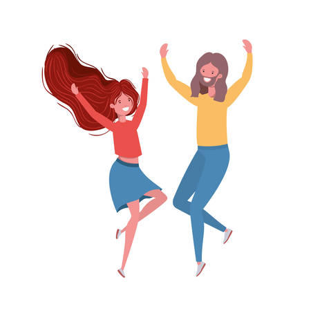 young couple dancing in white background vector illustration design