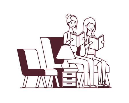 silhouette of women with book in hands in living room vector illustration design