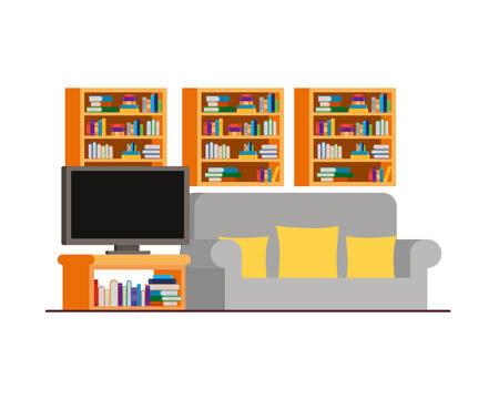 comfortable sofa in living room with plasma tv vector illustration design 矢量图片