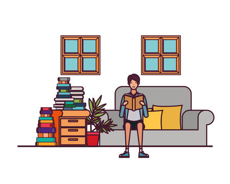 man with book in hands in living room vector illustration design 일러스트
