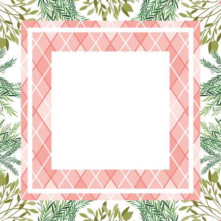 frame with branch and leaf of summer vector illustration design