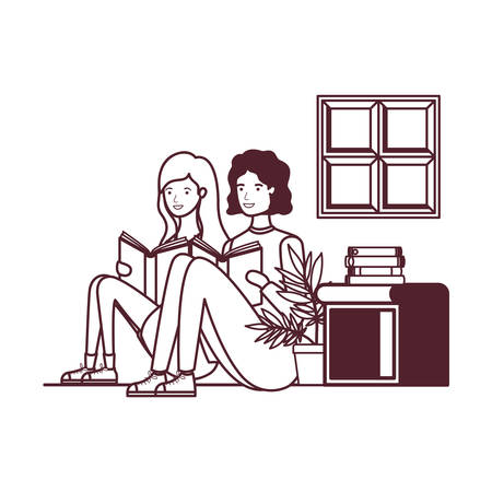 silhouette of couple with book in hands in living room vector illustration design