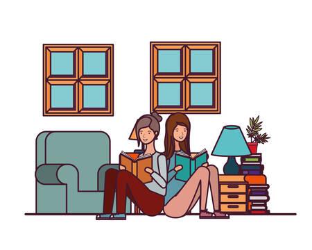 women with book in hands in living room vector illustration design