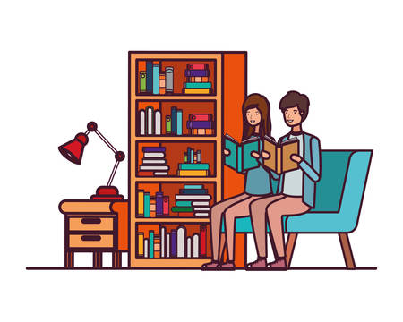 couple with book in hands in living room vector illustration design 일러스트